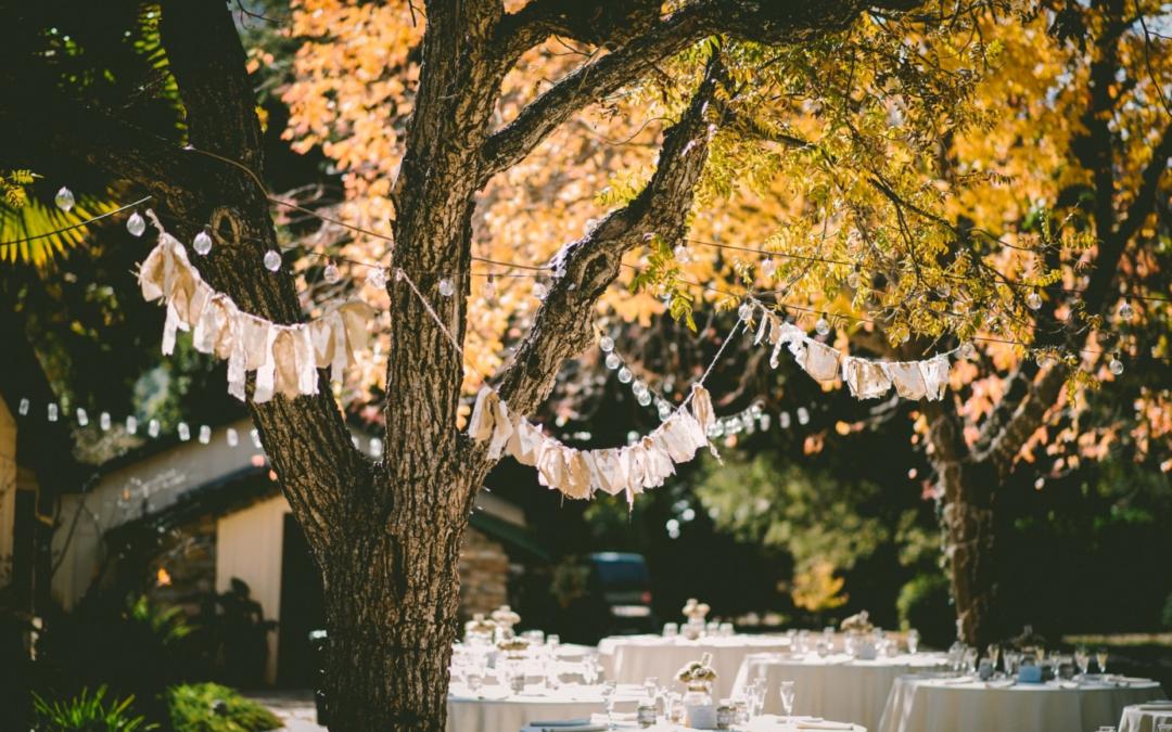 Nappe de table et décoration pour un mariage en extérieur